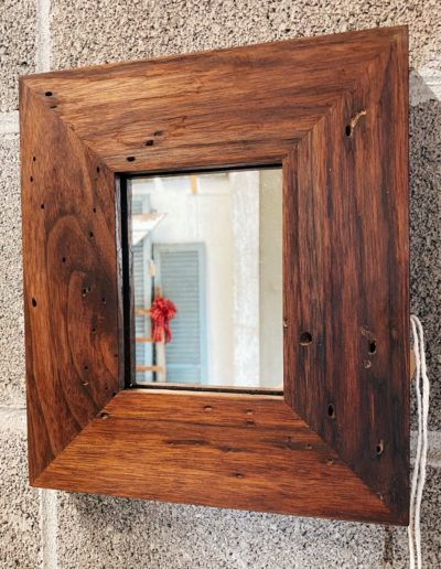 Reclaimed Wormy Walnut Wood Mirror