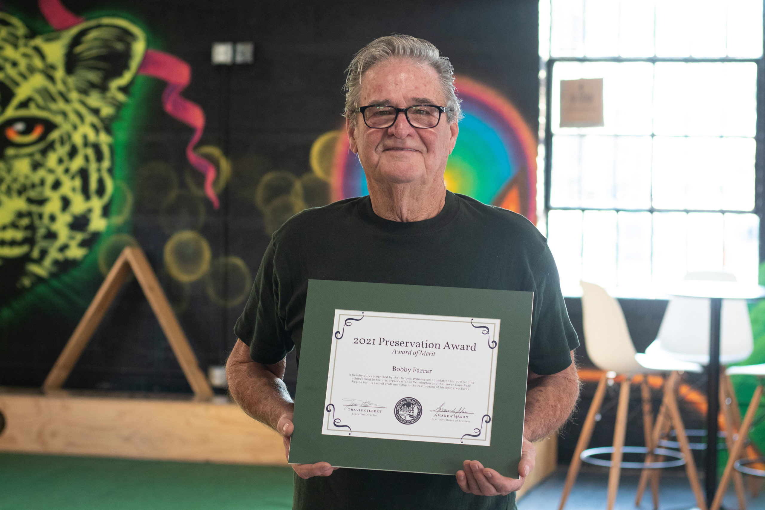 Bobby Farrar won this year's Award of Merit! His exceptional craftsmanship helped preserve many historic buildings in the Lower Cape Fear region, including the Lazarus-Divine-Hill House, Brink-Goodman House, and Rush-Stelijes Store.