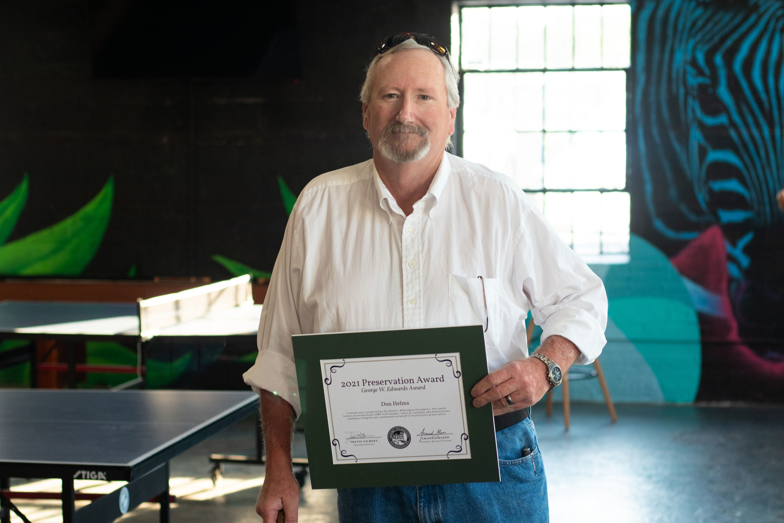 Volunteer Don Helms won the 2021 George Edwards Award for his dedication to Legacy Architectural Salvage's mission.